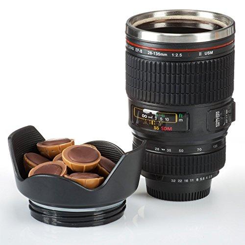 Kaffeebecher Kameraobjektiv